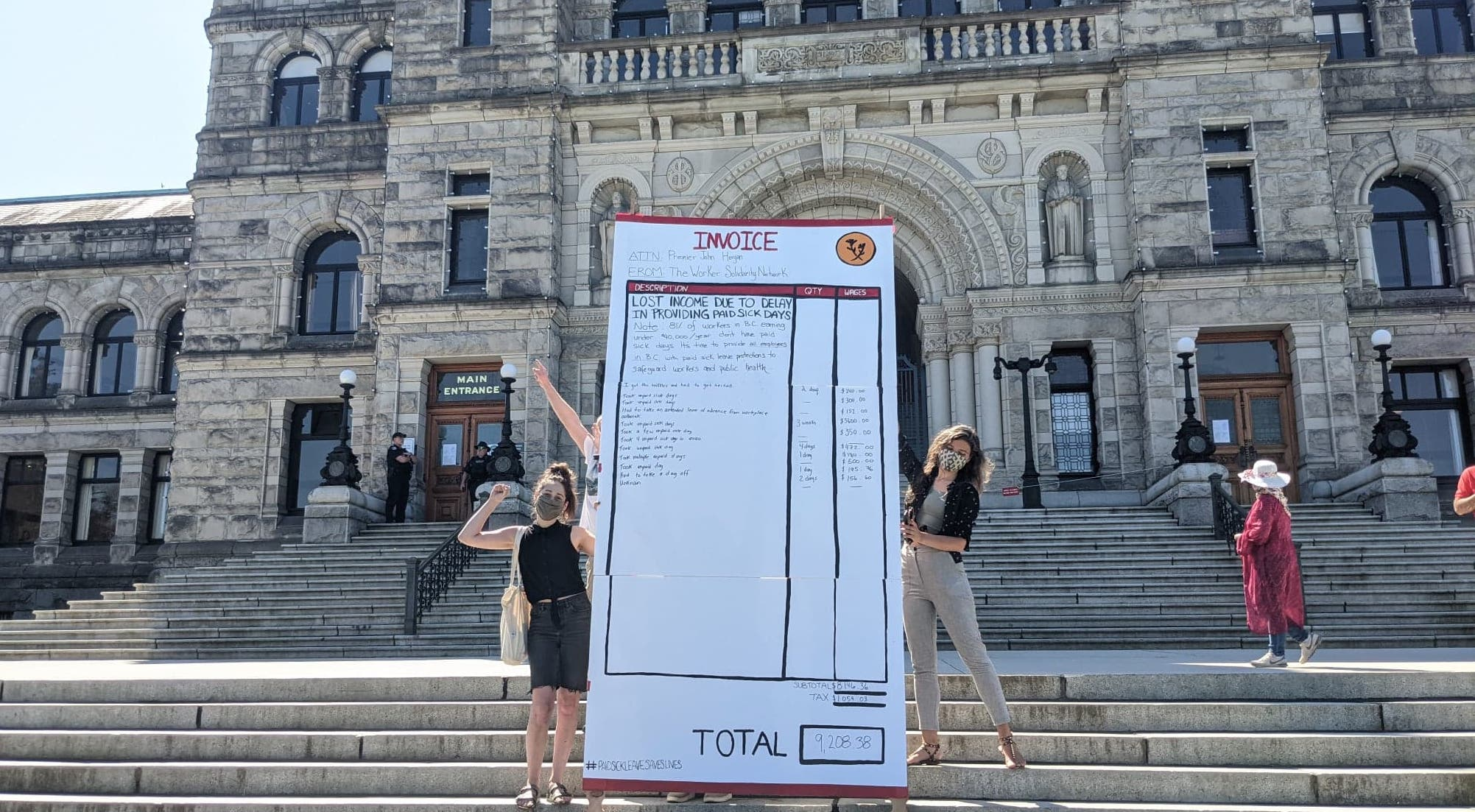 Workers Present Giant 'Invoice' for Paid Sick Days